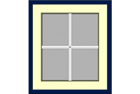 Window darkblue-ivory 800 x 900 mm turn/tilt with bars