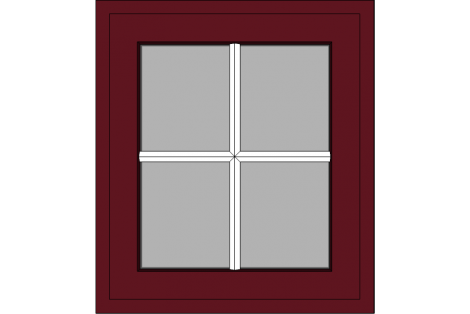 Window darkred ral 3005 800 x 900 mm turn/tilt with bars