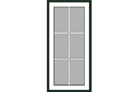 Window darkgreen-white 800 x 1650 mm turn/tilt with bars