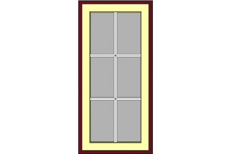 Window darkred-ivory 800 x 1650 mm turn/tilt with bars