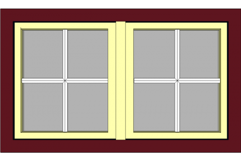 Window darkred-ivory 1500 x 900 mm turn/tilt with bars