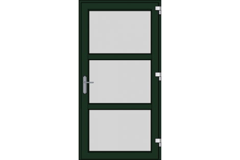 Door -Darkgreen ral 6009-Modern-satinated-glass- HR++-Single door 1000 x 1950 mm