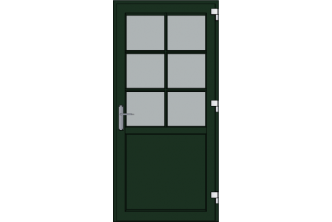 Door -Darkgreen ral 6009-Bars- HR++-Single door 1000 x 2100 mm