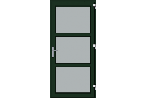 Door -Darkgreen ral 6009-Modern glass- HR++-Single door 1000 x 2100 mm