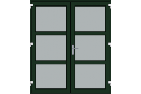 Door -Darkgreen ral 6009-Modern- HR++-Double door 1700 x 1950 mm