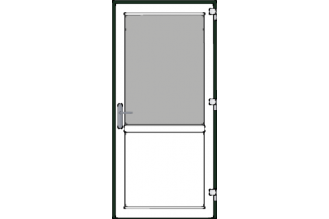 Door -Darkgreen-White-Standard glass HR++-Single door 1000 x 2100 mm