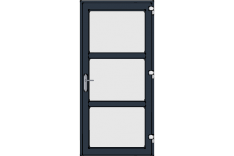 Door -Antraciet ral 7016-Modern-satinated-glass- HR++-Single door 1000 x 2100 mm