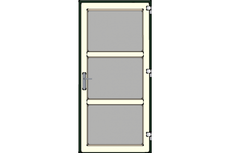 Door -Darkgreen-Creme-Modern glass- HR++-Single door 1000 x 2100 mm