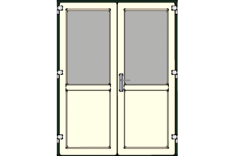 Door -Darkgreen-Creme-Standard glass HR++-Double door 1500 x 1950 mm