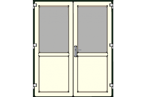 Door -Darkgreen-Creme-Standard glass HR++-Double door 1600 x 1950 mm