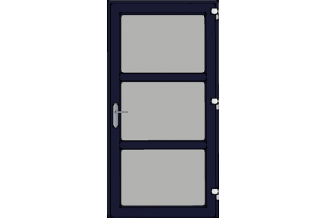 Door -Darkblue ral 5011-Modern glass- HR++-Single door 1000 x 1950 mm
