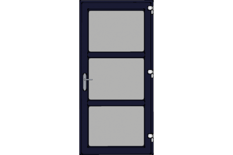 Door -Darkblue ral 5011-Modern glass- HR++-Single door 1000 x 2100 mm