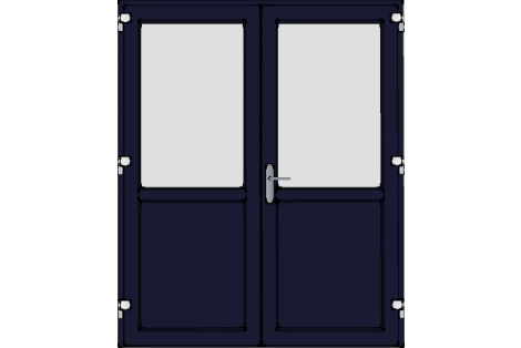 Door -Darkblue ral 5011-Satinated glass-Double door 1600 x 1950 mm
