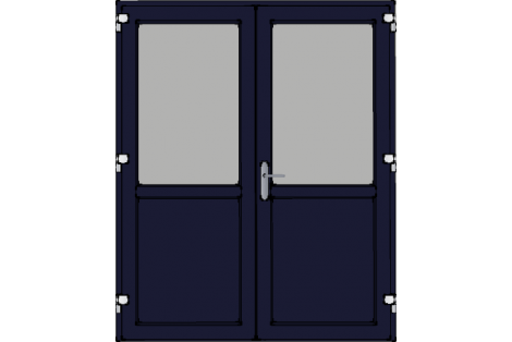 Door -Darkblue ral 5011-Standard glass HR++-Double door 1600 x 1950 mm