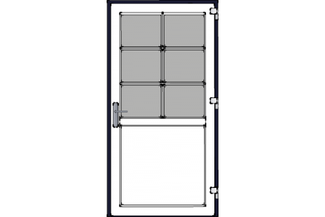 Door -Darkblue-White-Bars- HR++-Single door 1000 x 1950 mm
