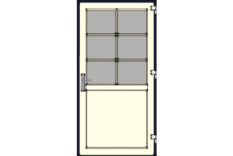 Door -Darkblue-Creme-Bars- HR++-Single door 1000 x 1950 mm