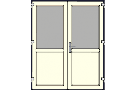 Door -Darkblue-Creme-Standard glass HR++-Double door 1600 x 1950 mm