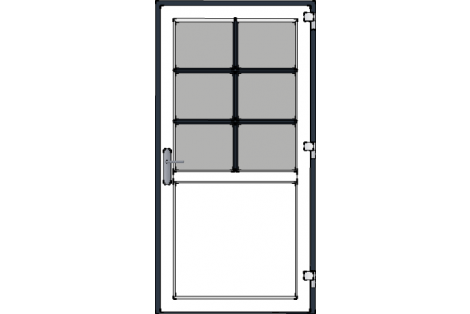 Door -Antraciet-White-Bars between glazing (Antraciet)-Single door 1000 x 1950 mm