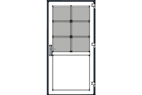 Door -Antraciet-White-Bars- HR++-Single door 1000 x 1950 mm