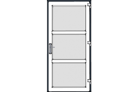 Door -Antraciet-White-Modern-satinated-glass- HR++-Single door 1000 x 2100 mm