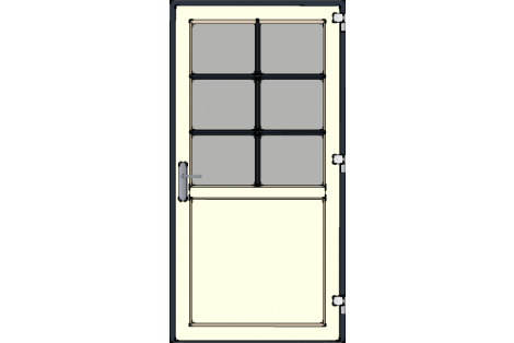 Door -Antraciet-Creme-Bars between glazing (Antraciet)-Single door 1000 x 1950 mm