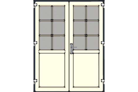Door -Antraciet-Creme-Bars between glazing (White or Creme)-Double door 1500 x 1950 mm