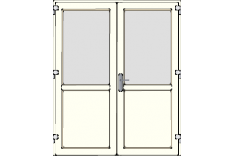 Door -Creme ral 9001-Satinated glass-Double door 1600 x 1950 mm