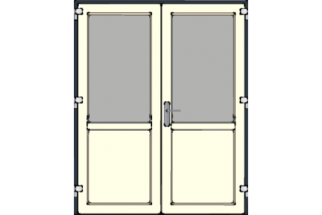 Door -Antraciet-Creme-Standard glass HR++-Double door 1700 x 2100 mm