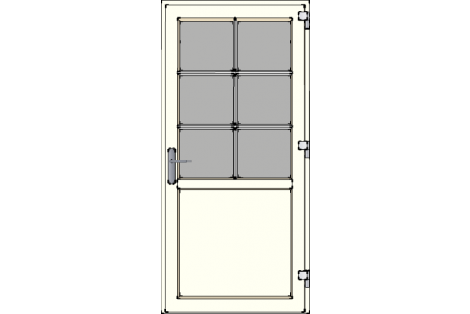 Door -Creme ral 9001-Bars- HR++-Single door 1000 x 2100 mm