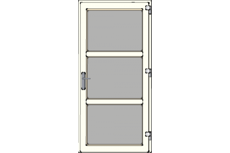 Door -Creme ral 9001-Modern glass- HR++-Single door 1000 x 2100 mm