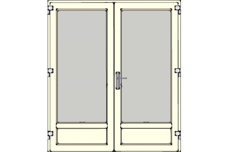 Door -Creme ral 9001-High glass HR++-Double door 1700 x 1950 mm
