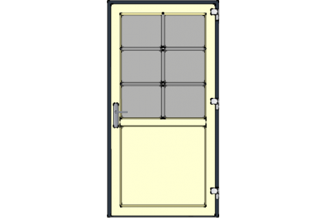 Door -Antraciet-Ivory-Bars- HR++-Single door 1000 x 1950 mm