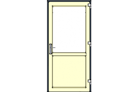 Door -Antraciet-Ivory-Satinated glass HR++-Single door 1000 x 2100 mm