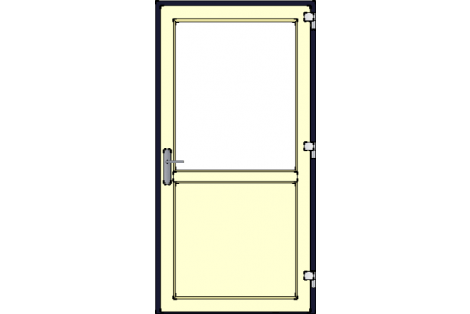 Door -Darkblue-Ivory-Satinated glass HR++-Single door 1000 x 1950 mm