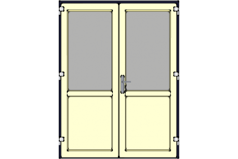 Door -Darkblue-Ivory-Standard glass HR++-Double door 1600 x 2100 mm