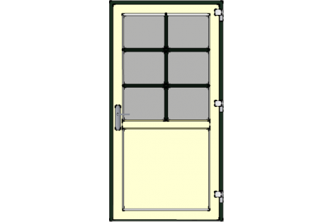 Door -Darkgreen-Ivory-Bars between glazing (white or creme)-Single door 1000 x 1950 mm