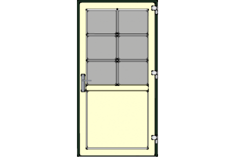 Door -Darkgreen-Ivory-Bars- HR++-Single door 1000 x 1950 mm