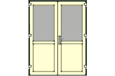 Door -Darkgreen-Ivory-Standard glass HR++-Double door 1500 x 1950 mm