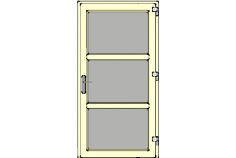 Door -Ivory ral 1015-Modern glass- HR++-Single door 1000 x 1950 mm