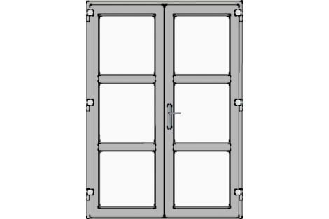 Double door-1500 x 2100 mm-grey-satinated-glass-hr++