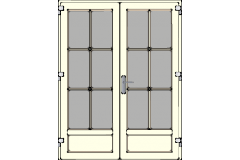 Door -Creme ral 9001-High glass with bars between glazing (white or creme)-Double door 1500 x 1950 mm