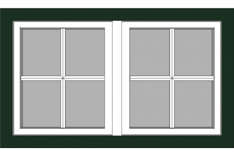 Raam darkgreen-creme 1500 x 900 mm turn/tilt with bars